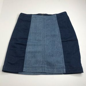 Free People Two Toned Denim Skirt